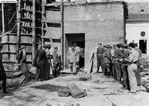 Winston Churchill visiting Hitler's bunker.