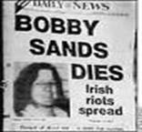 Local newspaper announcing the death of Bobby Sands.