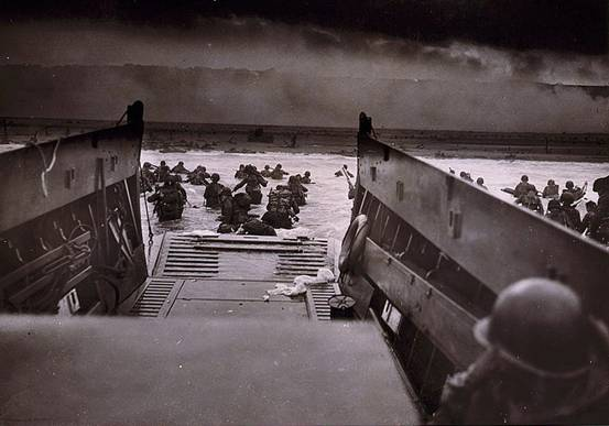 Here's a photograph of troops getting of a boat at the beginning of D-day.