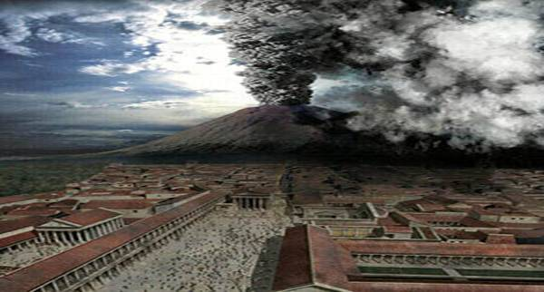A computer-generated depiction of the eruption of Vesuvius in 79 which buried Pompeii.