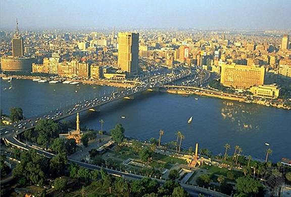 Here is a photograph that shows where the River Nile flows trough Egypt.
