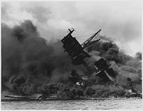 (USS Arizona sinking after the attack)