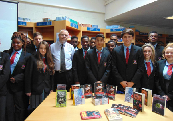 Author Alan Gibbons on a visit to the Library.